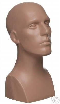 15'' Tall Male Mannequin Head Durable Plastic Flesh (50013) by only mannequins