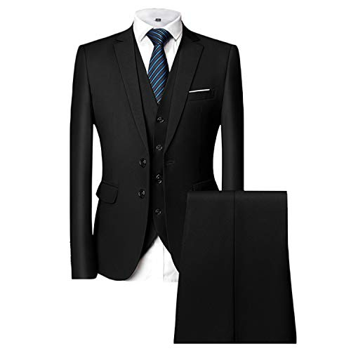 MAGE MALE Men's 3 Pieces Suit Elegant Solid Two Button Slim Fit Single Breasted Party Blazer Vest Pants Set