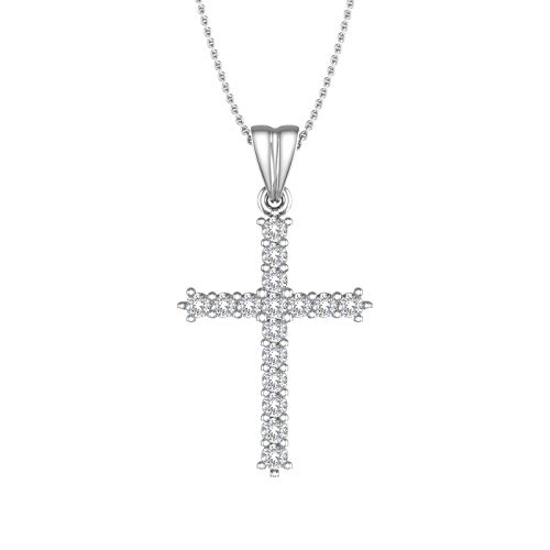 1/4 Carat Diamond Cross Pendant Necklace in 10K White Gold - IGI Certified (Silver Chain Included)