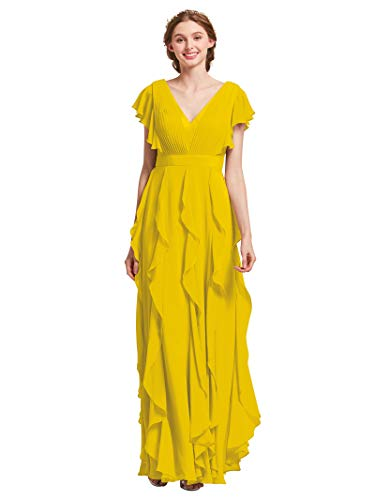 AW Bridal Long Bridesmaid Dresses for Women Formal Dresses with Sleeves Chiffon Gowns and Evening Dresses, Mustard Yellow, US8 Butterfly Chiffon Evening Gown
