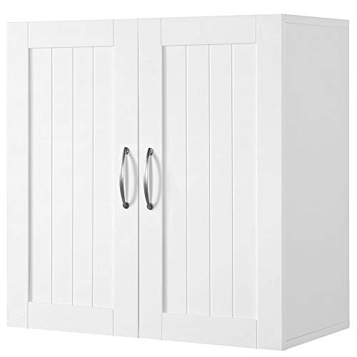 Yaheetech Bathroom Medicine Cabinet 2 Door Wall Mounted Storage Cabinet with Adjustable Shelf, 23.4in L x 12.2in W x 23.5in H, White (Storage Wall Mounted Bathroom Units)