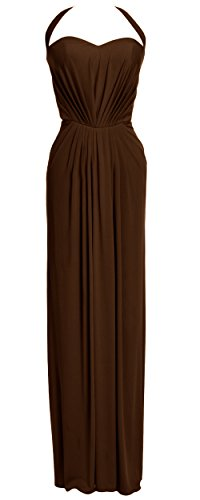 MACloth Women Halter Jersey Long Formal Evening Prom Dress Wedding Party Gown Chocolate