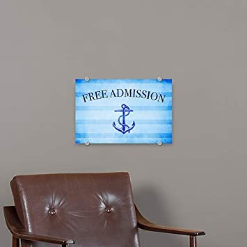 Nautical Stripes Premium Acrylic Sign CGSignLab Free Admission 5-Pack 27x18