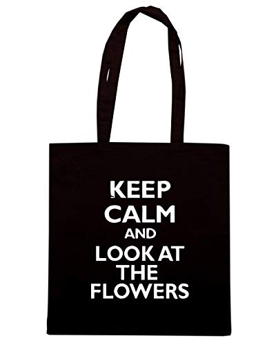Speed Shirt Borsa Shopper Nera WES0927 KEEP CALM AND LOOK AT THE FLOWERS