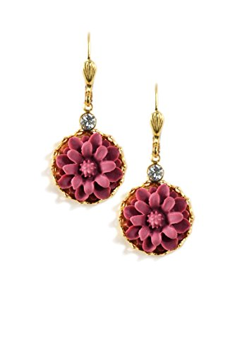 Clara Beau Swarovski Glass Crystal Accented Goldtone Burgundy Color Resin Flower Earrings EC383 G-Burg]()
