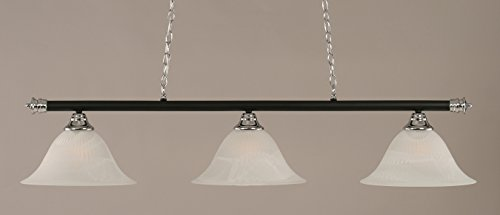 (Toltec Lighting 373-CHMB-5831 Oxford - Three Light Billiard, Chrome/Matte Black Finish with White Alabaster Glass)