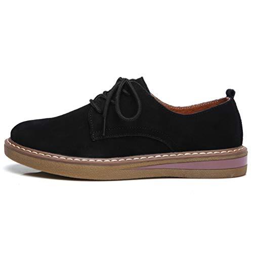 Up Camoscio Rotonde Barca Sneakers Toe Primavera Donne Pelle Pizzo Scarpe Flats Autunno Nero Oxford xqaYTRFw
