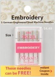Bulk Buy Klasse Embroidery Machine Needles 75//11 5//Pkg A5108-7511 5-Pack