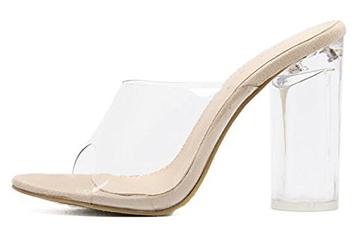 Beige Plastique Sandales Élégant Orteil Des Mules Claires Glisser Femmes Sur Carré Aisun Peep Haut Épissage Talon qEfwAnnZ6x