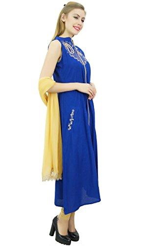 mit und bestickt Dupatta Beige Anzug Indian Frauen Set Ethnic Rayon Koenigsblau Atasi wxqTgnRC