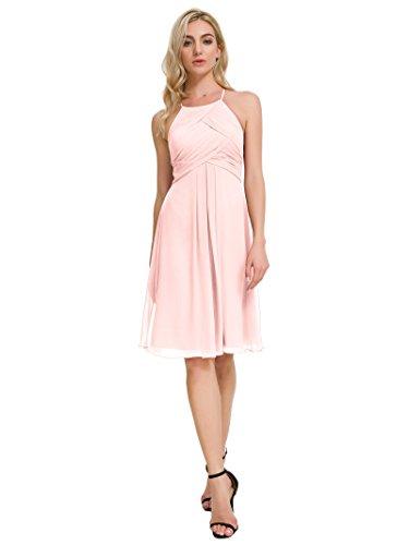 Pearl Pink Blush - Alicepub Chiffon Bridesmaid Dresses Blush Halter Cocktail Dress Short Homecoming Party Dresses, Pearl Pink, US2
