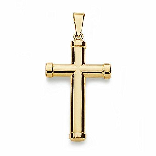 Croix pendentif 18k or crucifix 28mm lisse. bâton ovale [AA1928]