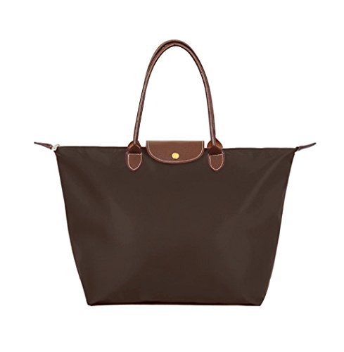BEKILOLE Women's Stylish Waterproof Tote Bag Nylon Travel Shoulder Beach Bags Brown