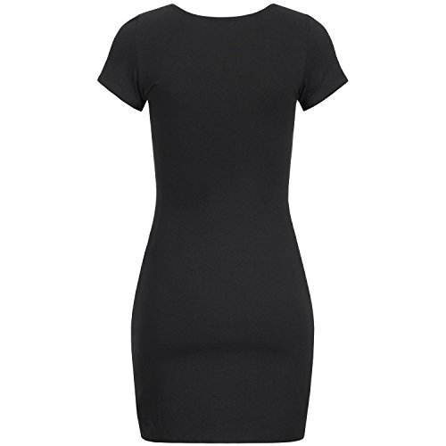 Manches Noir Annsfashion Uni Courtes Robe Femme En1q4Z