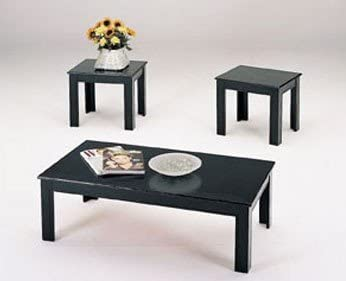 Leisure Space 4-pcs Round Metal Coffee Table Set with Marble Finish Table Top and Black Powder Coating Finish Frame 16 18 20 30