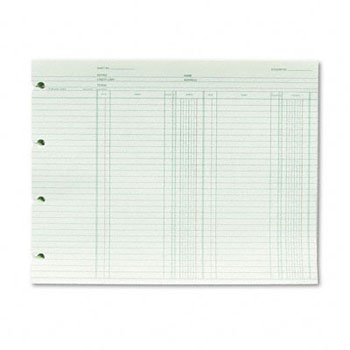 Wilson Jones® Double Entry Ledger Form SHEET,LDGR,9.25X11.88,GN (Pack of4)