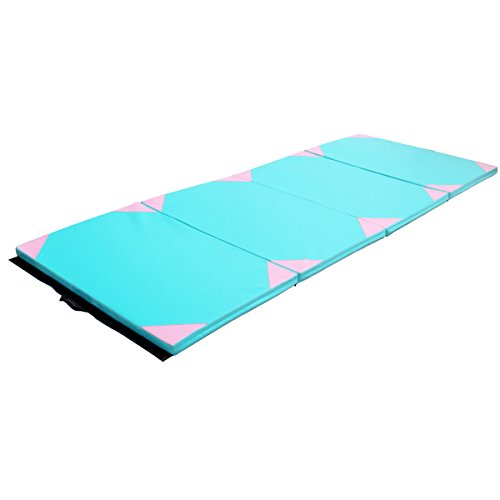 Exercise Mat 4'x10'x2 Gymnastics Hick Folding Panel Gym Fitness Pink & Blue with Ebook