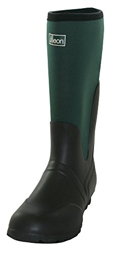 Jileon Warm Wide Calf Wellies - Neoprene Boots Fit up To 45cm Calf - Green and Black - Wide In Foot and Ankle
