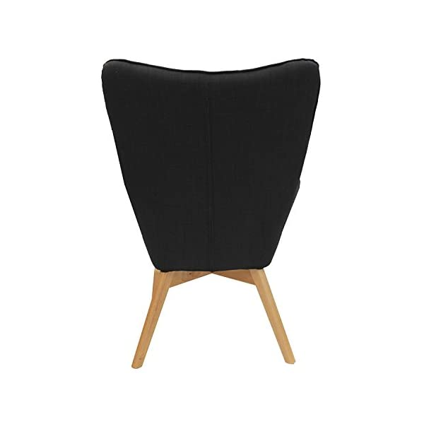 THE HOME DECO FACTORY HD3610 HELSINKI Fauteuil Bois/Métal/Tissu Noir 67,50 x 70 x 99 cm