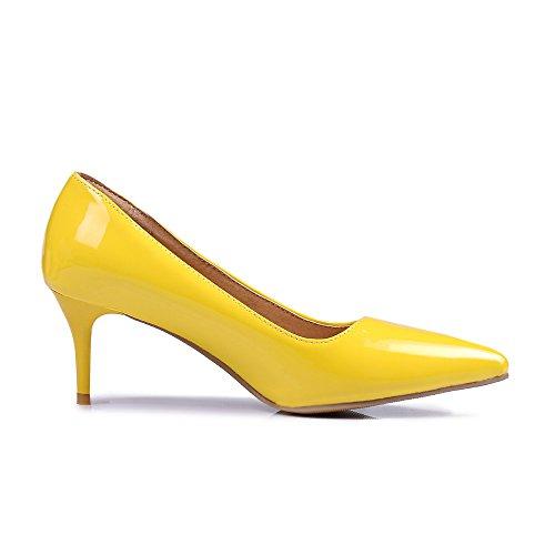 SexyPrey Women's Pointed Toe Slip On Kitten Heels Party Wedding Court Shoes Yellow p3Fek