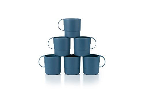 Amuse- Eco Friendly Sturdy Unbreakable & Stackable Mugs for Water, Coffee, Milk, Juice, Tea- Set of 6-11 oz (Blue) - Dinnerware Tea Set