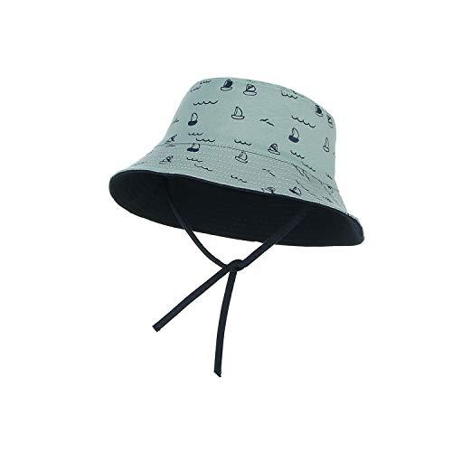 Summer Sun Hat for Kids Stars Print Bucket Hat Children Foldable Breathable Cotton Reversible,D,48cm -