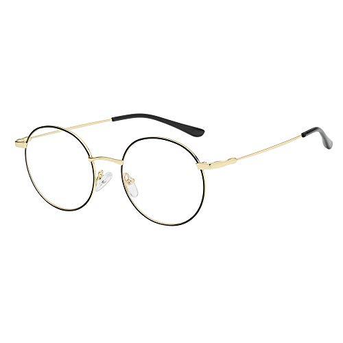 Aemall Student Clear Lens Glasses | Unisex Flat Lens Lightweight Frame Sunglasses | Retro Round Frame Reading Eyeglasses