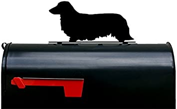 Made in USA Long Haired Dachshund Mailbox Topper Sign Powder Coated