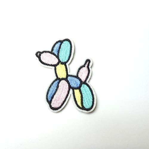 Pastel Balloon Dog Iron-On/Sew-On Embroidered Applique, Alt Goth Kawaii Cute TY-114