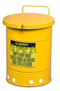 Justrite Yellow Steel 21 gal Safety Can - 23 7/16 in Height - 18 3/8 in Overall Diameter - 697841-00253 [PRICE is per EACH] by Justrite
