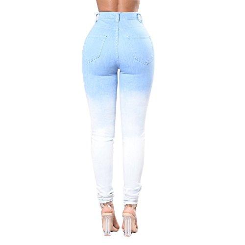 Zipper Fori Bianchi A Summer Con Fuweiencore Alta Da Jeans Sfumati Vita Skinny Pantaloni Azzurro Donna Blu xw11U6Y7q