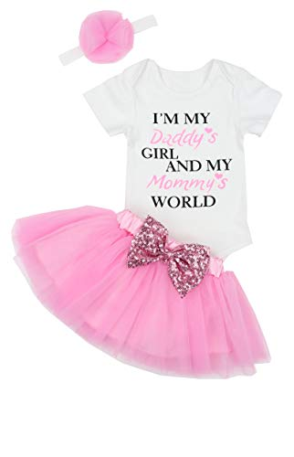 Happy Fathers Day Baby Girl Outfit Letter Print Rompers+Tutu Dresses Shorts+Headband 3PCS Skirt Set 3-6 Months Pink