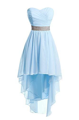 Bal Robes Chiffon d'honneur Haut de Bas Robe sans Ciel de Demoiselle Bleu Bretelles Robe de soire wSqXSU4