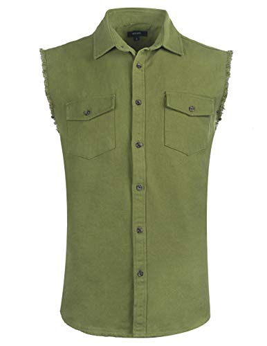 NUTEXROL Mens Sleeveless Denim/Cotton Shirt Biker Vest 2 Front Pockets Army Green M