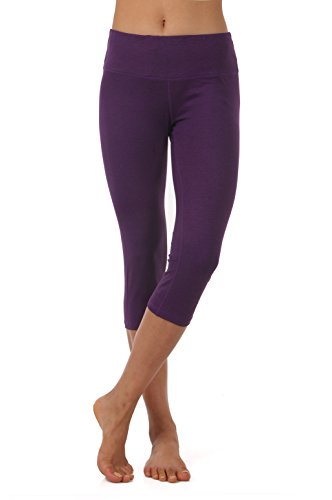 ZEROGSC Women's Yoga Pants - Workout Running Tummy Control Stretch Power Flex Long/Capris Leggings (YPW102-DeepPurple-Medium) -