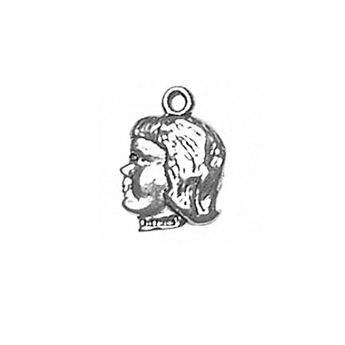Sterling Silver Praying Girl - Sterling Silver Double Sided Girl in Profile Girl Head Charm Item #1309