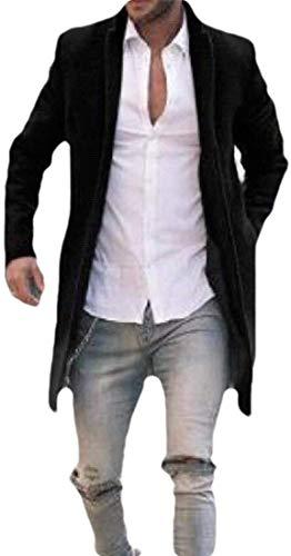Men's Longline Solid Color Stylish Wool-Blend Overcoat Fall Winter Pea Coat Jacket