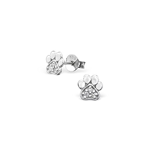 Price comparison product image 925 Sterling Silver Paw Print Cubic Zirconia Ear Studs