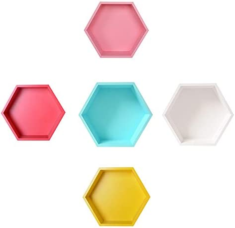 Gaetooely Style Nursery Kids Room Decoration Shelf Wooden Hexagon Shelves for Baby Bedroom Decoration Red