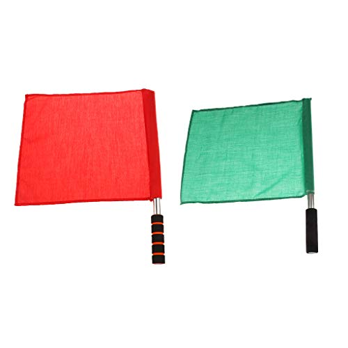 DYNWAVE 2Pcs/Set Athletic Competition Track and Field Officials Linesman Flags (Field Events and Race Events) Red and Green