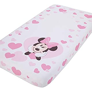 Disney Minnie Mouse - Pink & White Hearts Photo Op Fitted Crib Sheet, Minnie Mouse - Pink and White Hearts