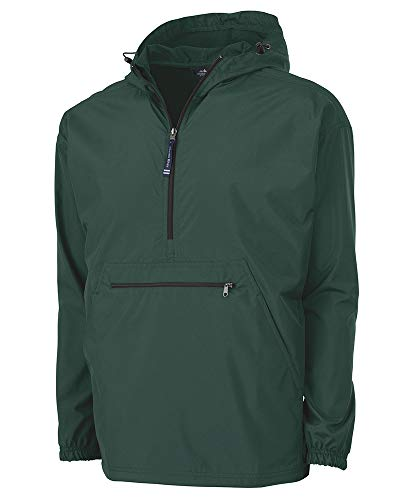 "The ""Newport Collection"" Pack-N-Go Pullover Jacket from Charles River Apparel, Forest Green, XL"