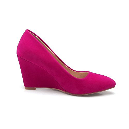 Womens Pointed Pull Closed Solid Shoes High Pumps RoseRed on AmoonyFashion Frosted Toe Heels U0qSdHw0X