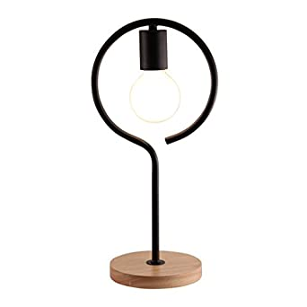 light accents exposed bulb table lamp natural wooden base with metal curve black. Black Bedroom Furniture Sets. Home Design Ideas