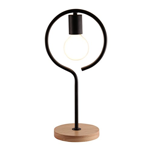 Light Accents Exposed Bulb Table Lamp Natural Wooden Base With Metal Curve  (Black)