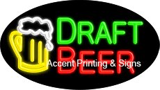 (Draft Beer Flashing Handcrafted Real GlassTube Neon Sign)