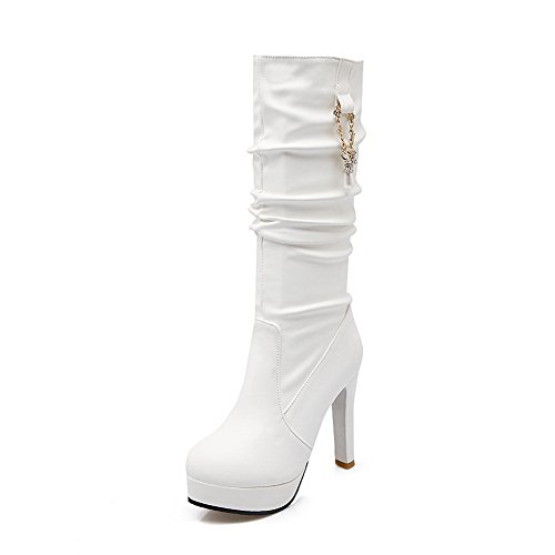 Leather Chunky Metal Ornament Platform 1TO9 White Boots Imitated Heels Womens 4qxwW0O