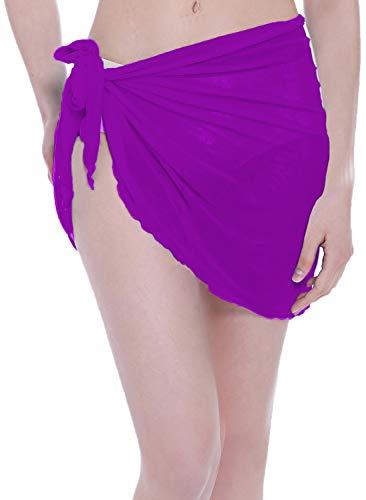 ChinFun Women's Mesh Beach Sarong Waist Wrap Bikini Cover up Pareo Canga Swimsuit Short Mini Skirts Solid Purple
