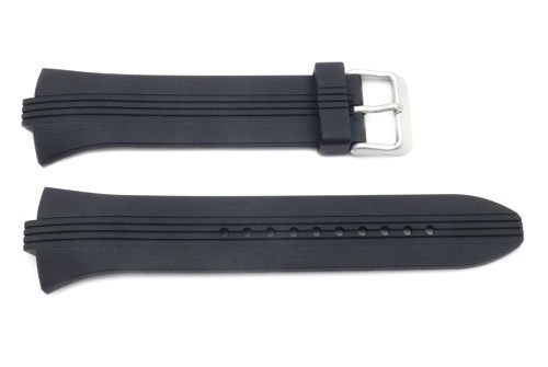 Pulsar Rubber Watch - Pulsar Black Smooth Rubber 28/8mm Watch Strap
