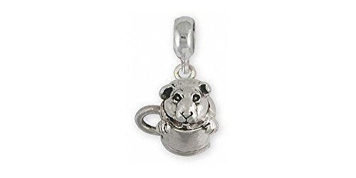 Guinea Pig Jewelry Sterling Silver Guinea Pig Charm Slide Handmade Piggie Jewelry GP9-PNS
